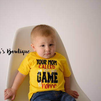 Your mom called you left your game at home --Boy's Football Shirt-- Boy's Game Day Shirt-- Boys Baseball shirt--Football Shirt--Funny boys