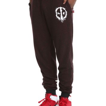 Licensed cool Marvel DEADPOOL Logo Men's Joggers Black Lounge Sweat Pants with Pockets L 2X