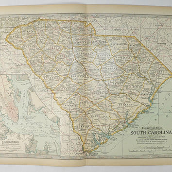 Vintage South Carolina Map 1899 Century Map South Carolina, Gift for Family, SC Map, Original Antique Map, 1st Anniversary Gift for Couple