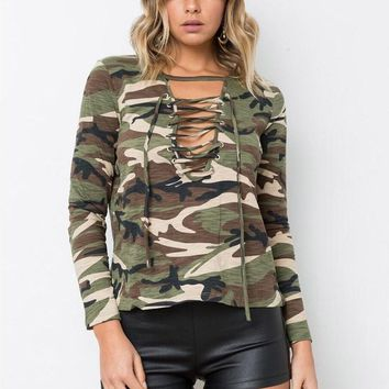Lace Up Long Sleeved Camouflage Blouse