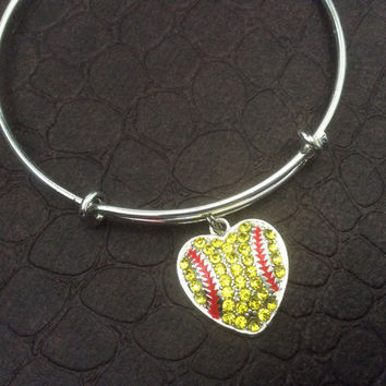 Crystal Heart Softball Charm on a Silver Expandable Bangle Bracelet Sports Team Coach Gift Adjustable