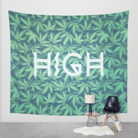 HIGH TYPO! Cannabis / Hemp / 420 / Marijuana - Pattern Wall Tapestry by Badbugs_art | Society6