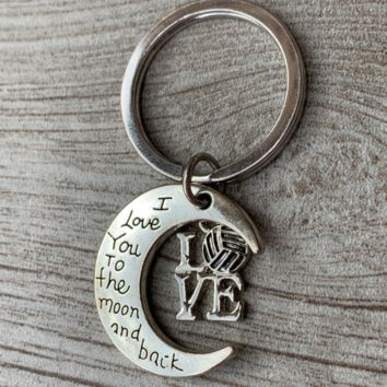Volleyball Love You to the Moon and Back Keychain