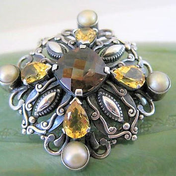 Sterling Topaz Brooch, Pearl Enhanced, Signed NDA, Vintage 925 Pin