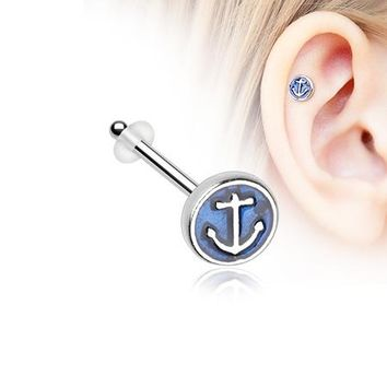 Blue Sailor Anchor Piercing Stud with O-Rings