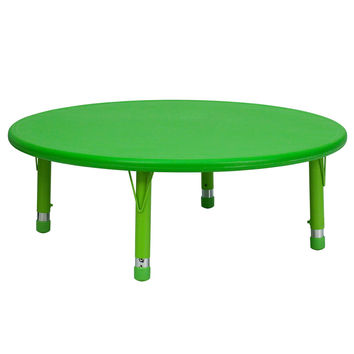 Flash Furniture 45 Round Adjustable Green Plastic School Kids Classroom Activity Play Table