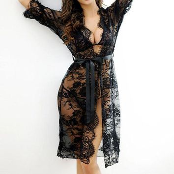 ONETOW 2017 Sexy Women Nightgowns & Sleepshirts Three Quarter O Neck Nightgowns Solid Lace Transparnet Hollow Out Dress