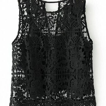 Black Crochet Lace Cut Out Back Top