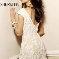 In Stock Short Dresses - Sherri Hill 2941 Lace Short Sleeves