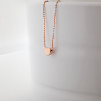 Tiny Heart Necklace in Rose Gold, Gold or Sterling Silver