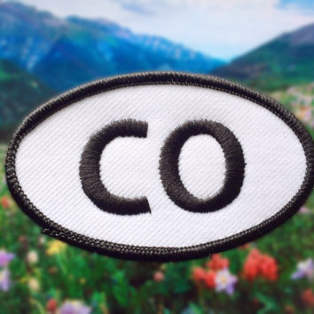"Colorado CO Patch - Iron or Sew On - 2"" x 3.5"" - Embroidered Oval Applique - Centennial State - Black White - Hat Bag Accessory Handmade USA"