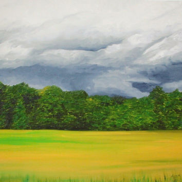 Spring Storm Clouds, Giclee Art Print, Landscape Painting, Cloud Art, Stormy Art