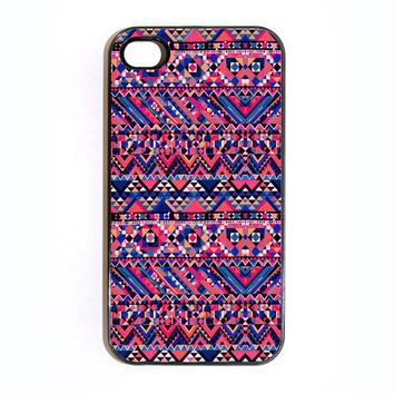 Apple iPhone 4 4G 4S 3D Printed Matte  Case Skin Cover Unique Magenta Aztec Pattern Design Available in Black or White Hard Case.
