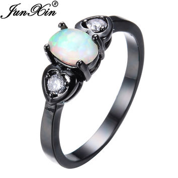 JUNXIN Cute Jewelry Rainbow Fire Opal Ring Black Gold Filled Wedding Party Engagement Promise Rings For Women Men Best Gifts