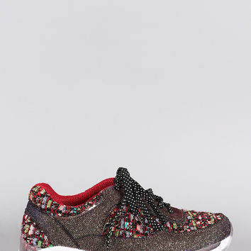 Bamboo Glitter Frayed Lace Up Sneaker