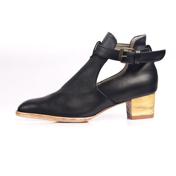 Black leather cut out ankle boots - FREE SHIPPING