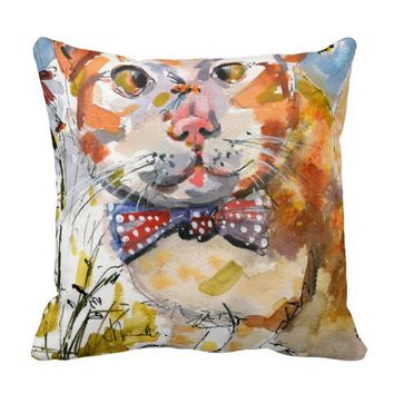 Delightful Cat and Bees Illustration Pillow
