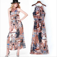 Summer Totem Print Split Spaghetti Strap Dress Prom Dress One Piece Dress [4920224452]
