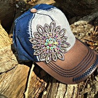 Flower Jeweled Linen Hat - Multi