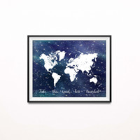 Inspirational Travel Art Print, Proverbs Quote, Graduation Gift, World Map Poster, Navy Nursery Decor, Bible Script,  Stars Print, P-002