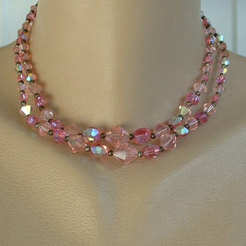 Two Strand Pink AB Crystal Choker Necklace Vintage Jewelry