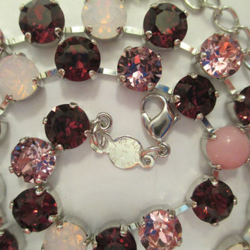 swarovski crystal necklace, burgundy, pinks, designer inspired, bridal, bridesmaids, classy,8mm, opal,cabochons, high sparkle