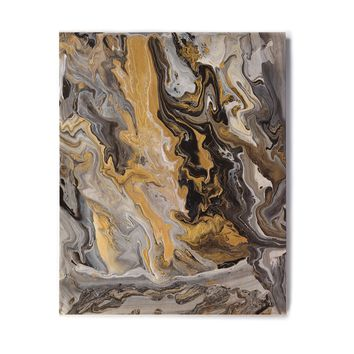 "Catherine Holcombe ""Gold Vein Marble"" Black Gold Abstract Geological Painting Birchwood Wall Art"