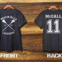 beacon hills lacrosse shirt mccall shirt black grey and white color 2 side print area S-XXL size available