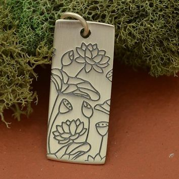 Sterling Silver Pendant with Pure Lotus Print