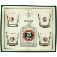 Scottish Golf Decanter Set with Old Fashioned Glasses by Richard E. Bishop