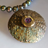 One of a Kind Bronze Pendant on Pearl Necklace by OxArtJewelry