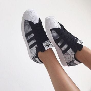 Adidas Superstar Shell Toe Smoke Pattern Casual Sneakers