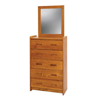 Chelsea Home 5 Drawer Chest w/ Mirror in Honey