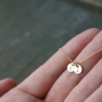 Two Gold Disc Necklace with Initials / 2 Tiny Personalized Pendants on a Gold Filled Chain .. choose your lowercase or uppercase letters