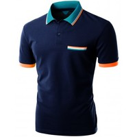 Doublju Men's Color Effect Collar Short Sleeve Polo T Shirt (KWTTS057M)