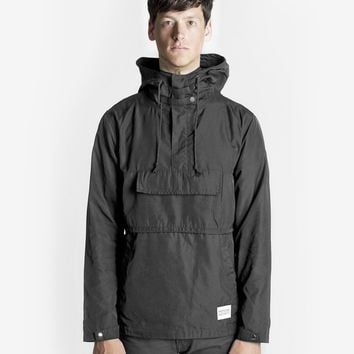 Torpedo Pocket Anorak Pullover Windbreaker Jacket in Midnight Black