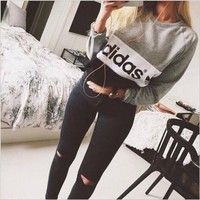 """Multi-color """"Adidas"""" Letter and Logo Print Long Sleeve Sweater"""
