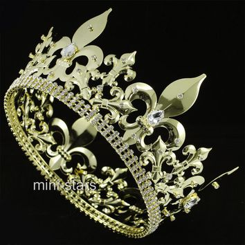 Men's Imperial Medieval Fleur De Lis Round Gold Tone Crown King