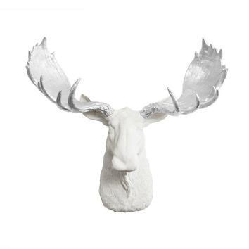 The Alberta | Moose Head | Faux Taxidermy | White + Silver Antlers Resin
