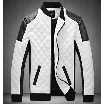 Look dashing in this diamond PU leather locomotive jacket.