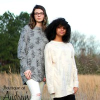 Easel Distressed Long Top in Gray