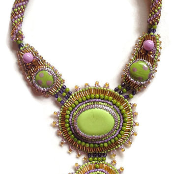 Bohemian Necklace, Vibrant Lavender and Lime Green, Bead Embroidered Pendants, Russian Spiral Branches, Statement Necklace,