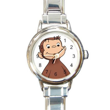 Curious George the Monkey on a Round Charm Watch