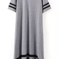 Grey Short Sleeve Striped Trim Shirt Dress