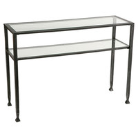 Metal Glass Top Sofa Table Occasional Console Table With Shelf