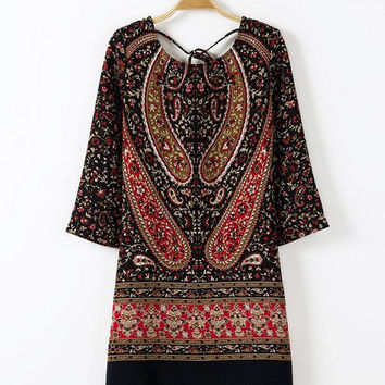 Vintage Print Multi-color Dress