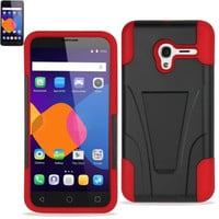 Reiko Silicon Case+Protector Cover For Alcatel Onetouch Pixi 3 4G (4.5  ) New Type Kickstand Red Black