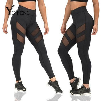 YGFENG S-XL Women Push Up Leggings High Waist Elastic Knitted Patchwork Mesh Leggings Sexy Workout Slim Black Leggins Female