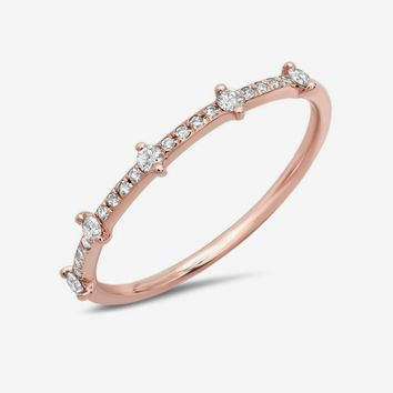 5 Diamond Channel Band Rose Gold