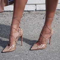 Bev Nude Cut Out Lace Up Leather Pumps